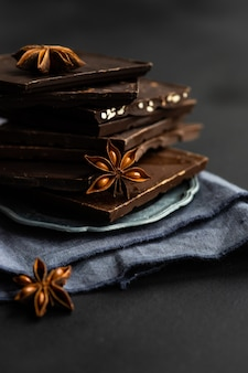 Culinary concept with different types of chocolate