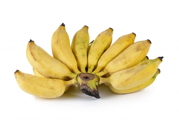 Cultivated banana on white wall
