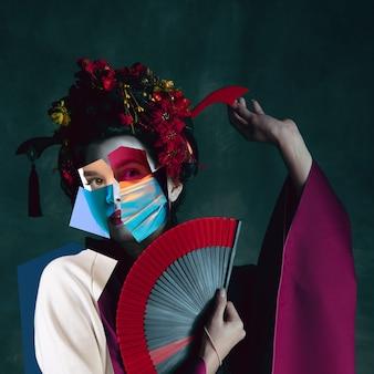 Культура. портрет молодой женщины из разных частей лиц, коллаж современного искусства. новое видение красоты и моды, макияжа, прически. современный стиль, современный взгляд на эмоции, чувства.