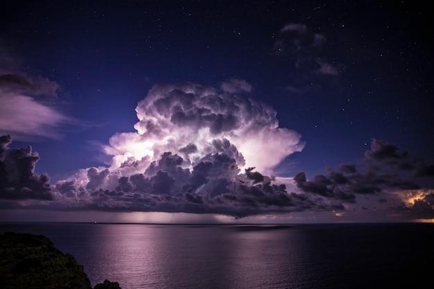 Кучево-дождевое облако во время шторма, выбрасывающего воду над средиземным морем