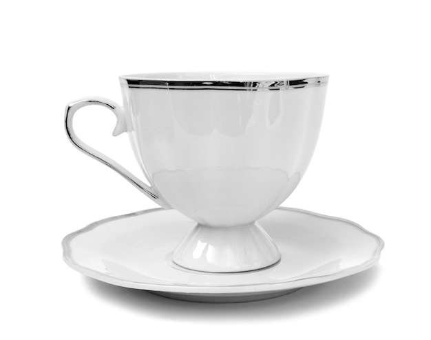 Cup of black coffee with milk isolated on white