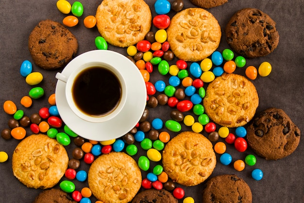 Cup of black espresso coffee and chocolate Premium Photo