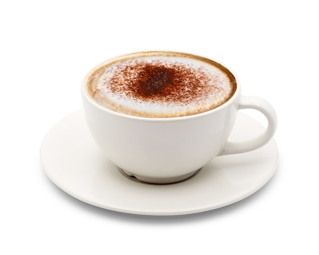Cup of cappuccino coffee isolated on white