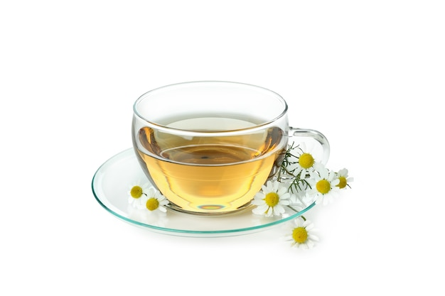 Cup of chamomile tea isolated on white