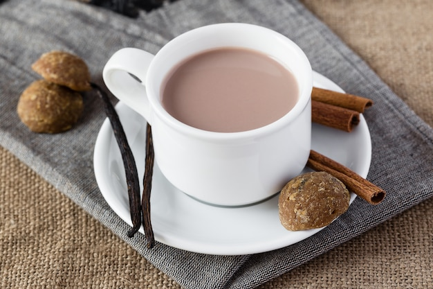 Cup of chocolate with vanilla and cinnamon
