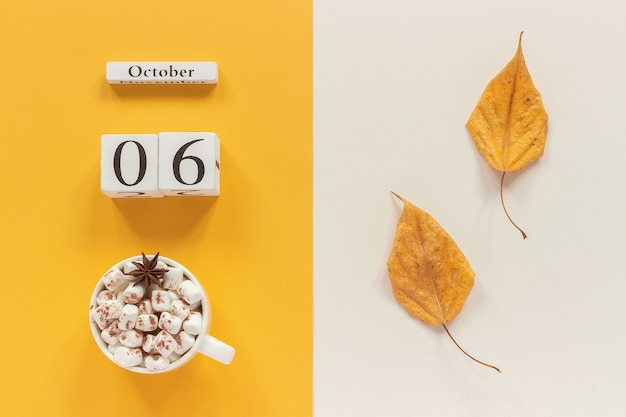 Cup of cocoa with marshmallows and yellow autumn leaves