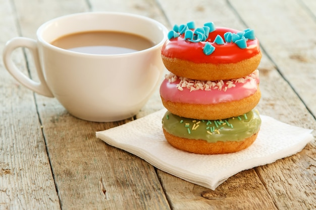 Cup of coffe and donuts