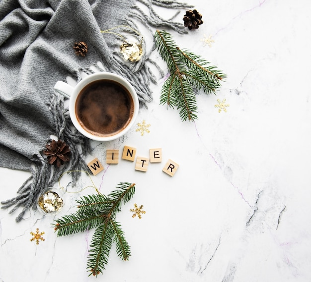 Cup of coffe, scarf and decorations