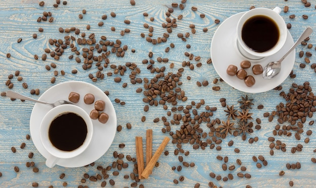 Cup of coffee and anise stars