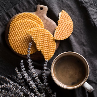 Cup of coffee arrangement with stroopwafles