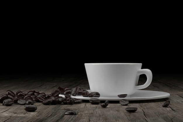 Cup and coffee beans on wooden, 3d rendering.