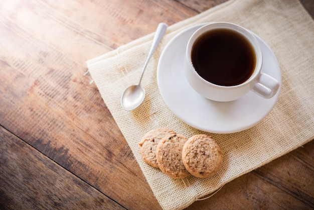 Cup of coffee and biscuit