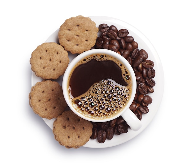 Cup of coffee and cookies on white background. top view