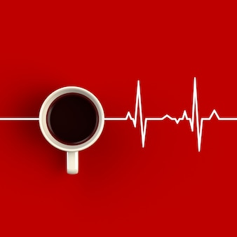 Cup of coffee in the form of heart rhythm