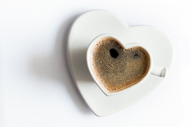 Cup of coffee in the form of heart