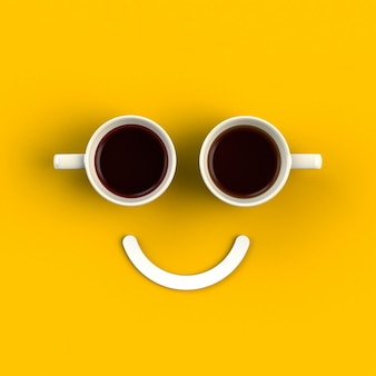 Cup of coffee in the form of smile Premium Photo