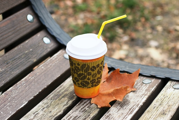 Cup of coffee to go on the wooden bench in the park.