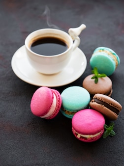 Cup of coffee and macaroons