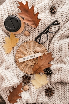 Cup of coffee, nuts, glasses, dried autumn leaves on sweater