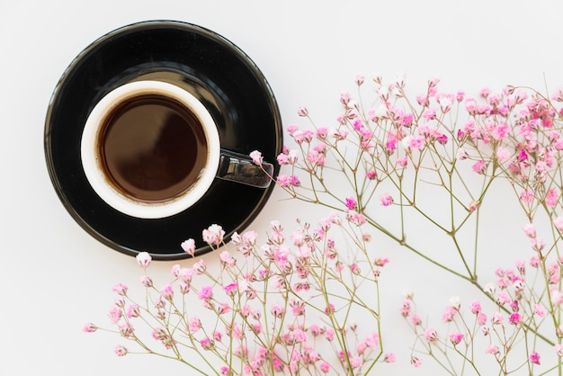 Cup of coffee and pink branches
