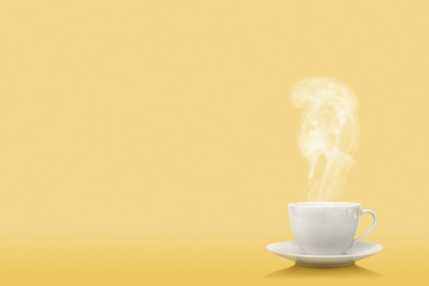 A cup of coffee on the proton purple background