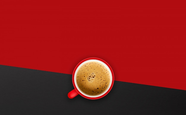 Cup of coffee on red background. top view