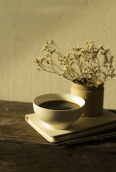 A cup of coffee relaxation and hygge concept
