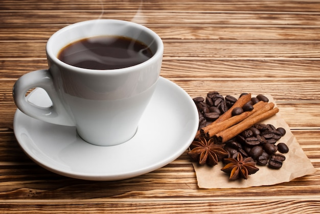 Cup of coffee and spices
