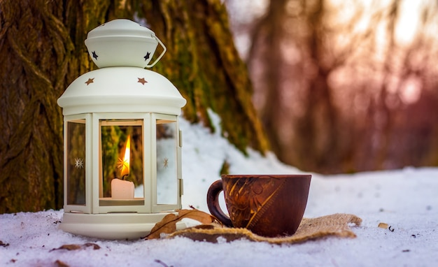 Cup of coffee in winter forest next to lantern with candle near old tree in the evening