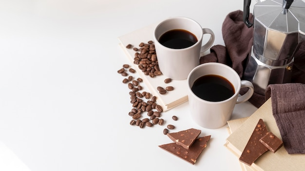Cup of coffee with delicious chocolate