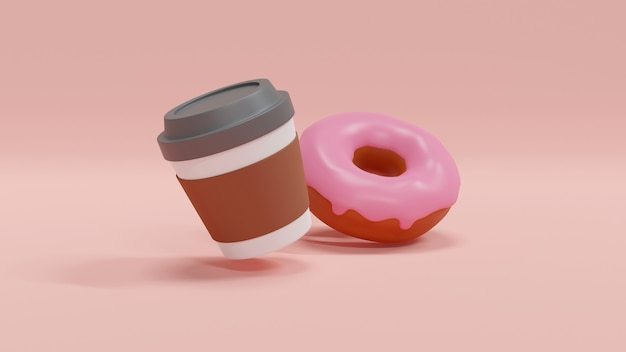 A cup of coffee with a doughnut on pink background concept of american food