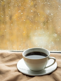 Cup of coffee with homemade biscuits on the blanket, raindrops on the window,