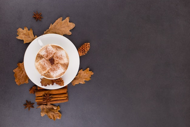 Cup of coffee with marshmallows and cocoa, leaves, dried oranges, cinnamon and star anise, gray stone background. tasty hot autumn drink. copyspace.