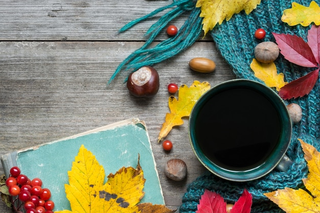 Cup of coffee with scarf and autumn leaves