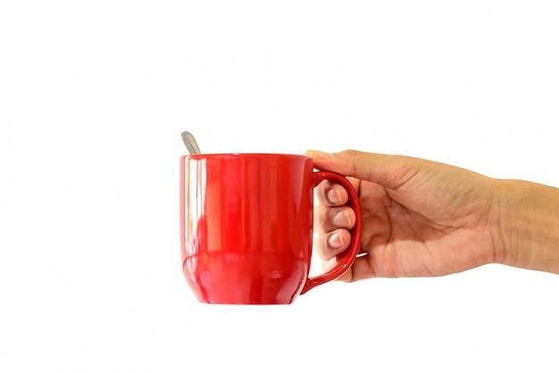 Tazza di caffè in mano donna su sfondo bianco