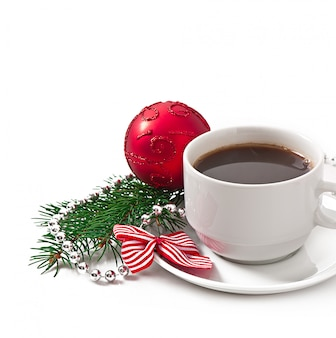 Cup of espresso coffee  and christmas decoration