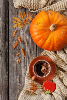 Cup of hot black coffee and pumpkin shaped gingerbread with autumnal leaves, pumpkin and warm scarf.