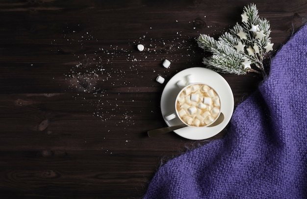 A cup of hot chocolate, a knitted blanket and spruce branches on a dark wooden background with snow.
