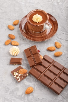 Cup of hot chocolate and pieces of milk chocolate with almonds