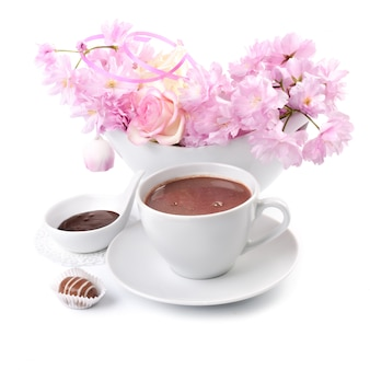 Cup of hot chocolate on white