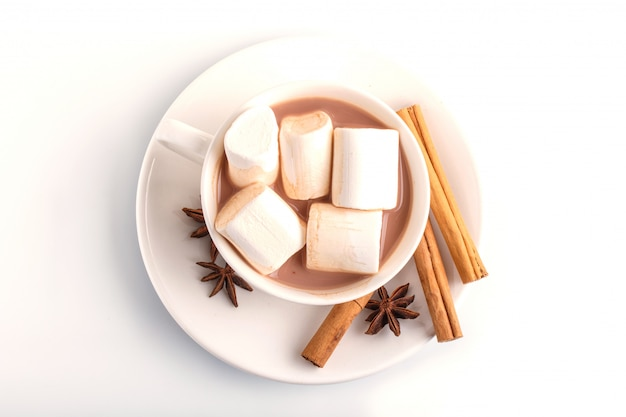 A cup of hot chocolate with marshmallow and cinnamon isolated on white.