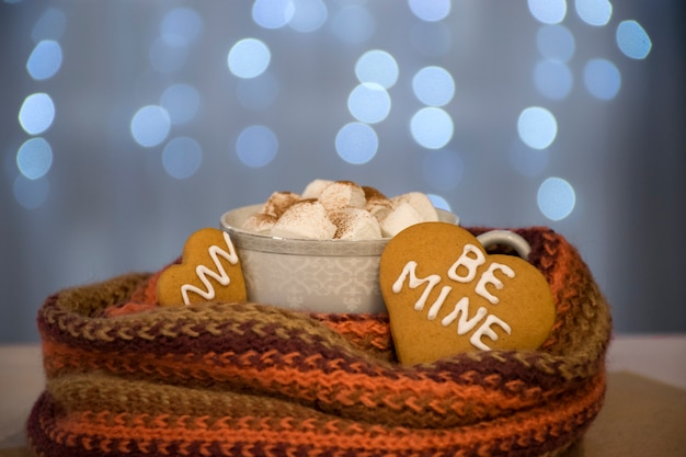 Cup of hot chocolate with marshmallow and cookies with be mine words on blue bokeh lights