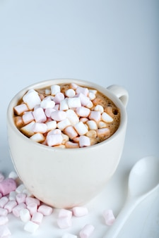 Cup of hot cocoa with marshmallow