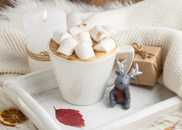 Cup of hot cocoa with marshmallows and present on tray
