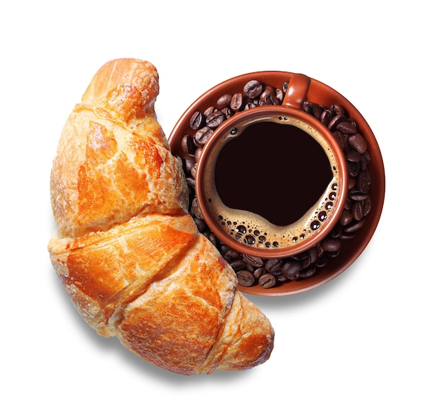 Cup of hot coffee with croissant on white background, top view