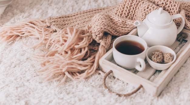 Cup of hot drink and teapot on a serving tray, knitting clothes