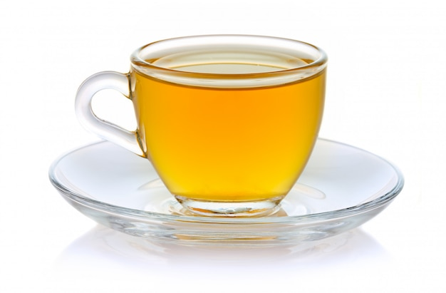 Cup of hot green tea isolated on white