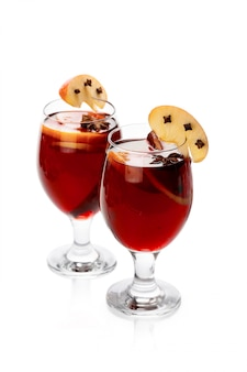 Cup of hot wine with spices