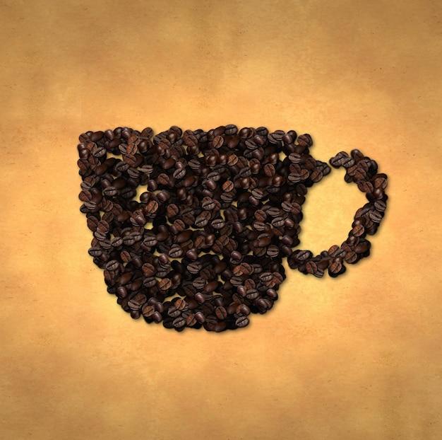 Icona della tazza chicco di caffè sul vecchio documento