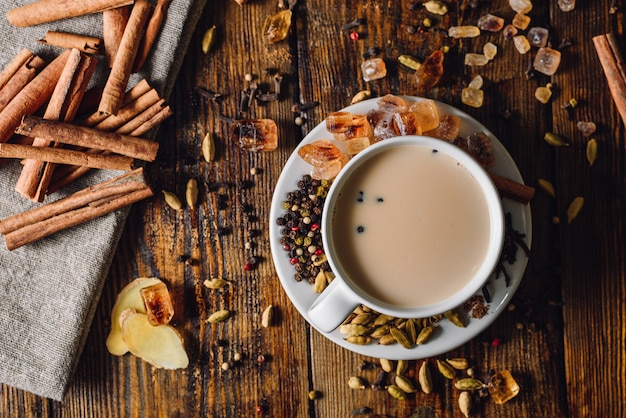 Cup of masala tea with spices